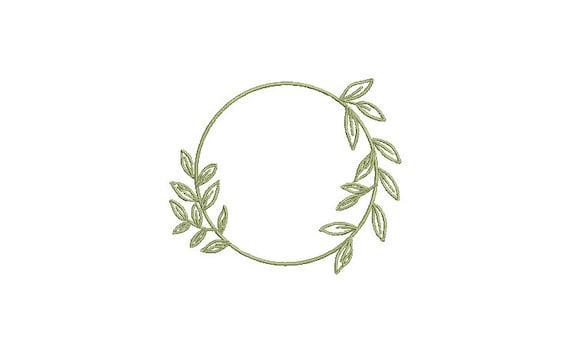 Leafy Circle Frame - Machine Embroidery File design - 4 x 4 inch hoop -  Monogram Frame