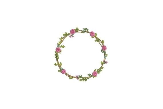 Rose & Flower Wreath Machine Embroidery File design 4x4 inch hoop