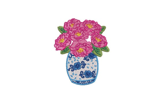 Chinoiserie Vase with Flowers - Machine Embroidery File design - 4x4 hoop - Chinoiserie Chic Embroidery Design