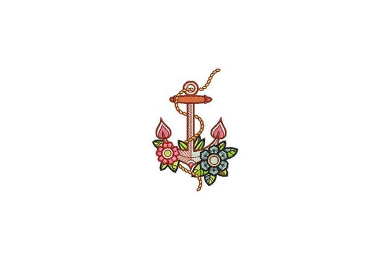 Floral Anchor Machine Embroidery File design 4x4 inch hoop - Anchor Tattoo