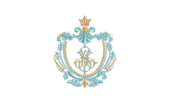 Crown Crest embroidery - Machine Embroidery File design - 4 x 4 inch hoop - instant download - Monogram Frame