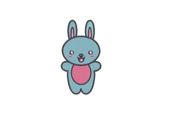 Machine Embroidery Kawaii Bunny - Machine Embroidery File design - 4x4 inch hoop - Instant download
