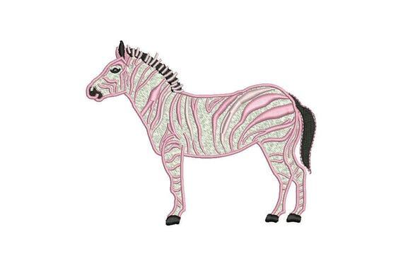 Zebra embroidery design - Pink Zebra Modern Machine Embroidery File design 5x7 inch hoop - Chinoiserie