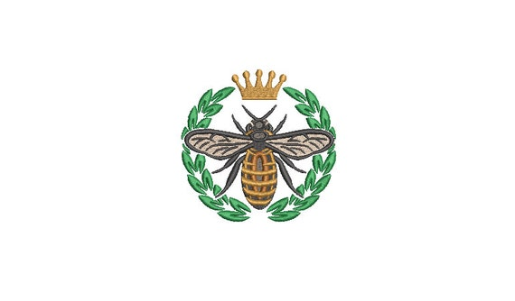 Bee Crown Laurel embroidery - Machine Embroidery File design - 4 x 4 inch hoop - instant download