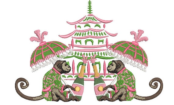 Chinoiserie Embroidery Design - Parasol Monkey Pagoda Embroidery Design - Machine Embroidery File design -  8x8 inch hoop