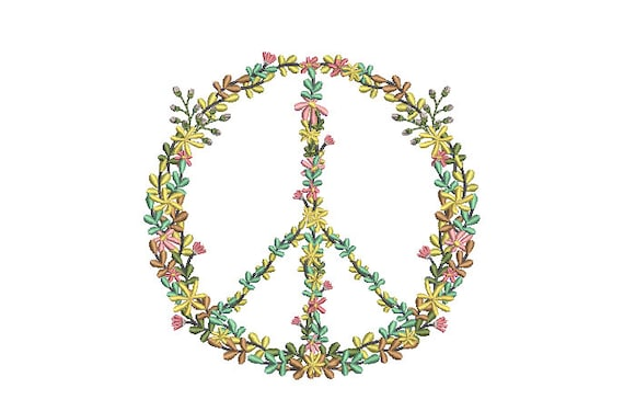 Floral Peace Sign - Machine Embroidery File design - 5x7 inch hoop - Instant Download - Peace Embroidery design