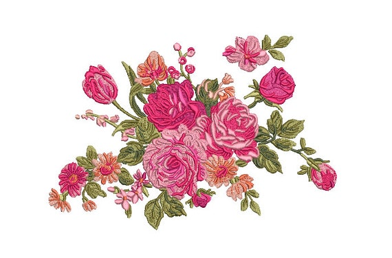 Pink Floral Embroidery -  Rose Machine Embroidery File design - 7 x12 inch hoop - instant download