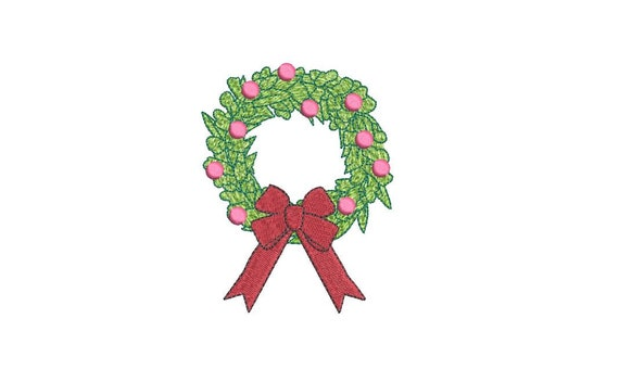 Bauble Bow Wreath Christmas Embroidery - Machine Embroidery File design - 4x4 inch hoop - Christmas Embroidery Design