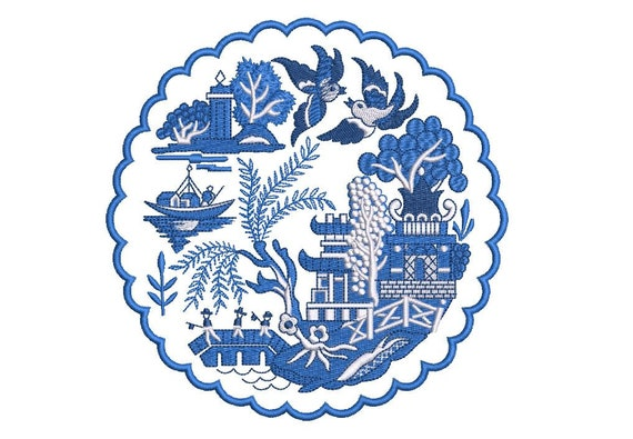 Chinoiserie Chic Blue Willow Pagoda Doily -  Machine Embroidery File design - 6x10 inch hoop