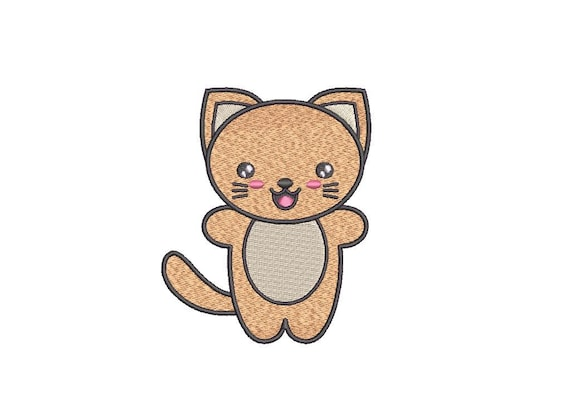 Machine Embroidery Kawaii Kitty - Machine Embroidery File design - 4x4 inch hoop - Instant download