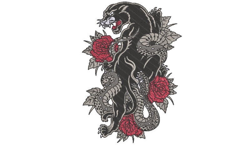 instant download 5x7 inch hoop Urban Modern Machine Embroidery File design Panther Roses Embroidery Design