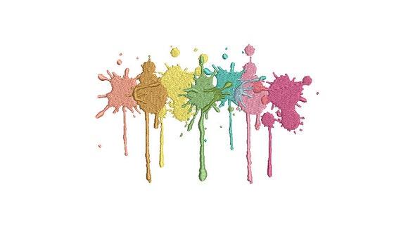 Pastel Paint Splatter Machine Embroidery File design - 7x12 inch hoop - Instant Download