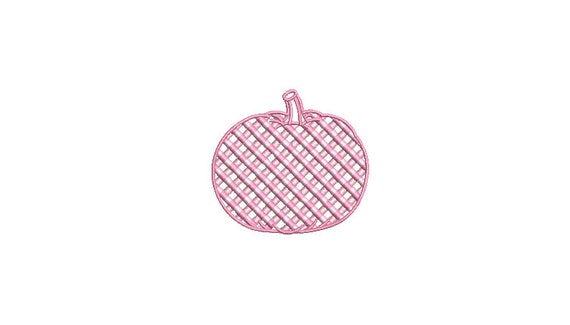 Chinoiserie Chic - Pink Gingham Pumpkin - Machine Embroidery design - 3x3 inch hoop - instant download