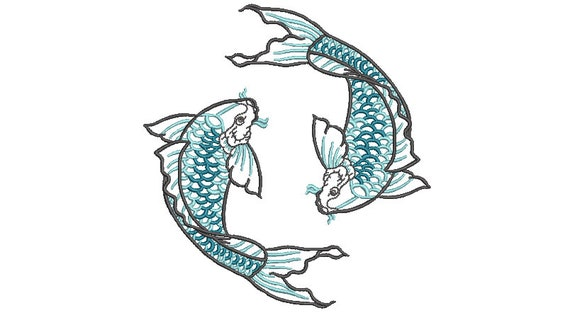 Two Koi Fish Machine Embroidery File design - 5x7 inch hoop - Koi Design - 13x18cm hoop
