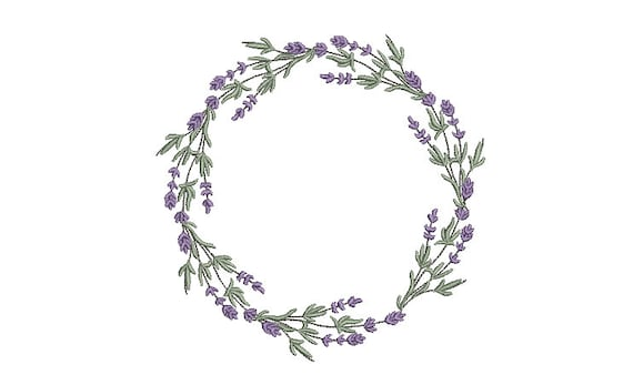 Lavender Wreath Machine Embroidery File design -  6x10 inch hoop - Machine Embroidery Lavender Design