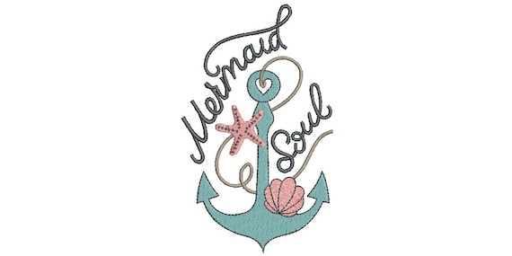 Mermaid Soul Machine Embroidery Design - Machine Embroidery File design - 5x7 hoop - Instant download