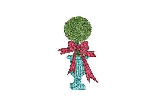 French Urn Boxwood Topiary Embroidery - Hamptons Pot Plant - Machine Embroidery File design - 4 x 4 inch hoop - Instant Download