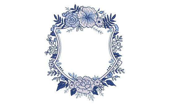 Blue & White Flower Crest Machine Embroidery File design 5x7 inch hoop - Monogram Frame