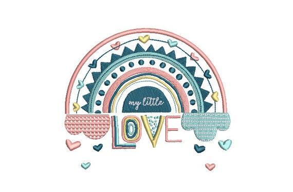 Love Rainbow Machine Embroidery File design  - 5 x 7 inch hoop sideways - Rainbow Embroidery Design