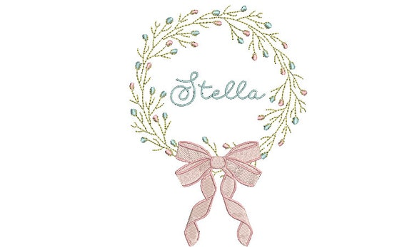 Flower Wreath Machine Embroidery File design - 5x7 inch hoop - Bow Embroidery Design