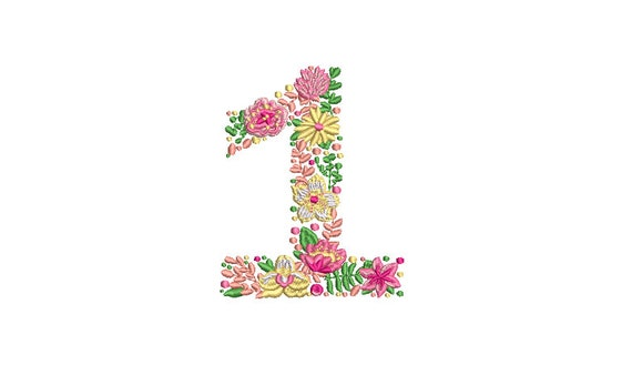 Spring Flowers Number 1 - ONE  - First Birthday-  Machine Embroidery File design - 4x4 hoop - embroidery design