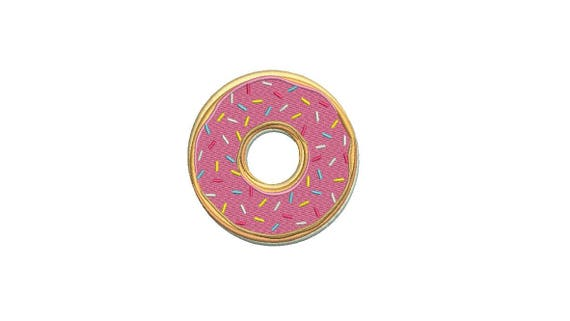 Pink Donut Machine Embroidery File design 4x4 inch hoop - Cake