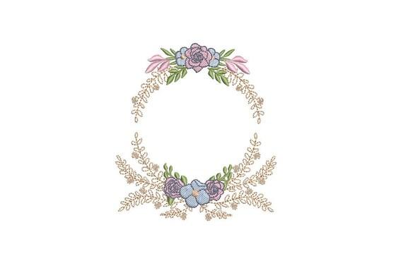 Petite Flower Crest Machine Embroidery File design 4x4 inch hoop - Monogram Frame
