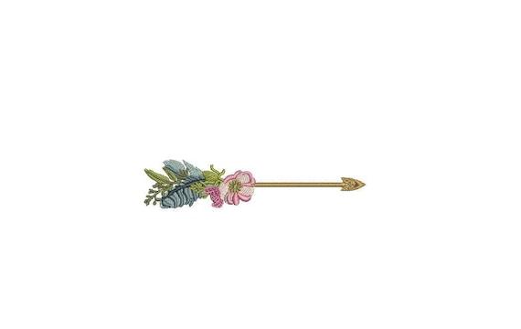 Arrow Embroidery - Boho Feather Flower Arrow Machine Embroidery File design 4x4 inch hoop