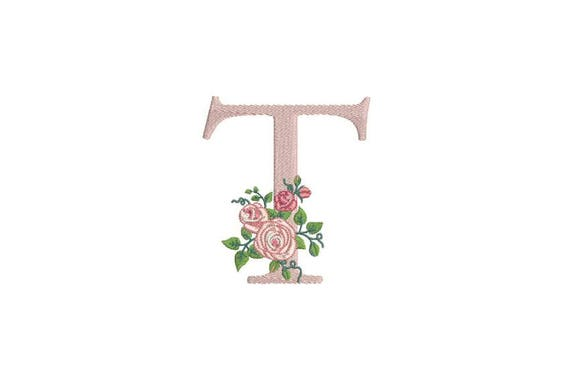 Letter T Monogram with Roses Machine Embroidery File design 4x4 inch hoop