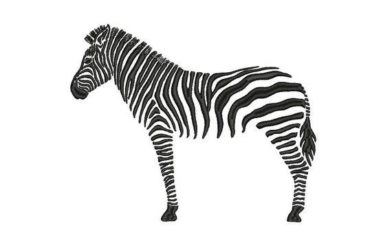 Black Zebra Mordern Machine Embroidery File design 5x7 inch hoop - Chinoiserie