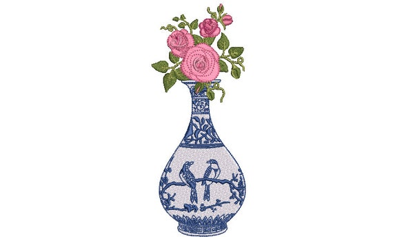 Chinoiserie Vase With Roses - Machine Embroidery File design - 5x7 inch hoop - Instant Download - Ginger Jar