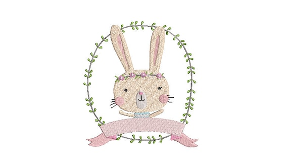Machine Embroidery Whimsical Cute Bunny Wreath Banner Machine Embroidery File design 5x7 inch hoop