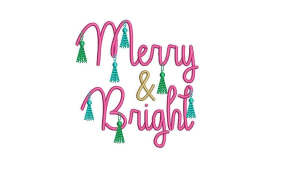 Christmas Embroidery -Merry & Bright Tassels - Machine Embroidery File design 4x4 inch hoop - instant download