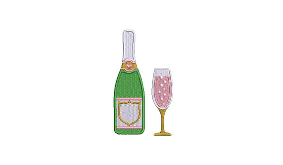 Champagne Bottle and Glass - Machine Embroidery File design  - 4x4 hoop - Celebration embroidery