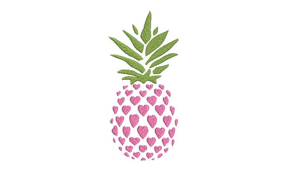 Pineapple Hearts Embroidery - Machine Embroidery Tropical Summer Pineapple Frame Embroidery File design 5x7 hoop - Monogram