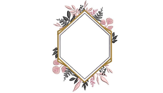 Romantic Monogram Frame - Machine Embroidery File design - 5x7 inch hoop - Monogram Frame