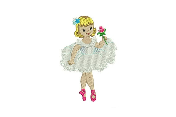 Vintage Ballerina Rose Machine Embroidery File design 5x7 hoop - instant download