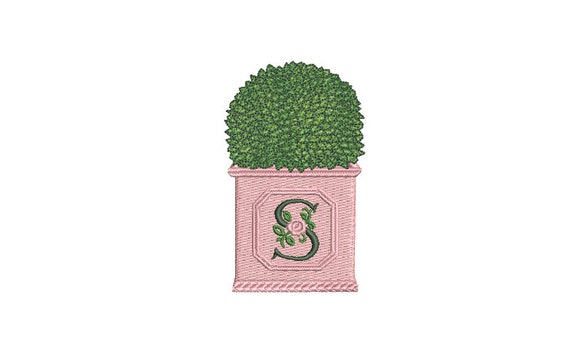 Boxwood Planter Pot Monogram Frame Embroidery - Hamptons Pot Plant - Machine Embroidery File design - 4 x 4 inch hoop - Instant Download