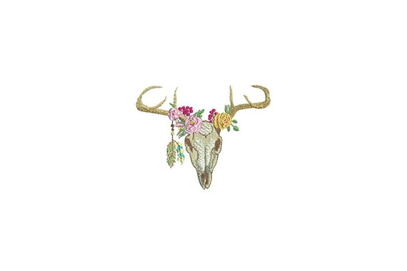 Machine Embroidery Bohemian Deer Skull With Feathers Machine Embroidery File design 4x4 inch hoop