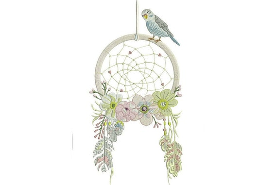 Whimsical Bird Dreamcatcher Machine Embroidery File design 7x12 inch hoop - instant download