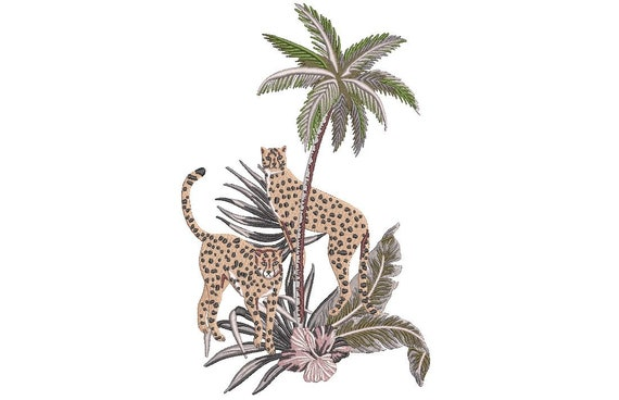Palms & Cheetahs - Machine Embroidery File design - 6x10 inch hoop - Instant download - Chinoiserie Chic