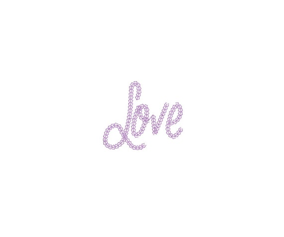 Love Embroidery - Vintage Chain Stitch LOVE 2 Machine Embroidery File design 4x4 inch hoop applique