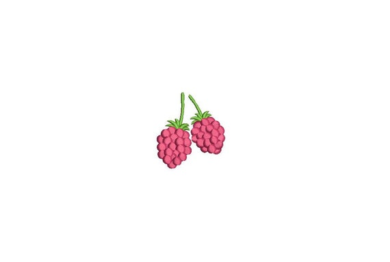 Kawaii Raspberries Mini Machine Embroidery File design 4 x 4 inch hoop Raspberry