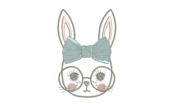 Machine Embroidery - Bunny with Glasses & Bow Outline - Embroidery File design - 6x10 inch hoop