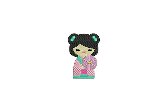 Whimsical Kokeshi Geisha Doll Kawaii Machine Embroidery File design 4x4 inch hoop instant download