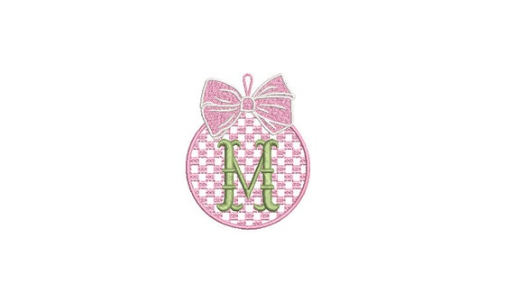 Gingham Plaid Madras Christmas Bauble Ornament - Machine Embroidery File design - 4x4 inch hoop - Monogram Frame