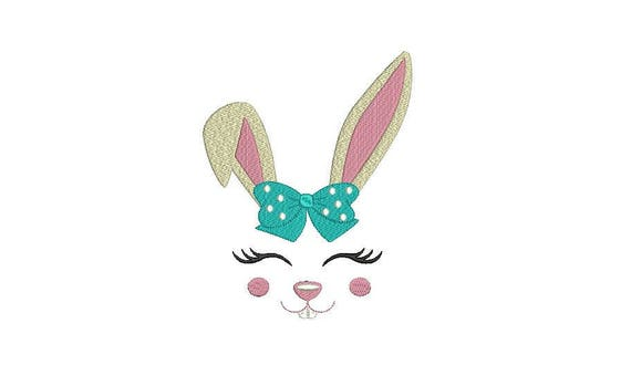 Bunny Face With Bow Machine Embroidery File design 6x10 inch hoop - instant download