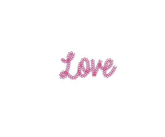 LOVE embroidery file - Vintage Chain Stitch LOVE Machine Embroidery File design 4x4 inch hoop ITH Instant download