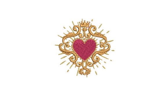 Ruby Milagro Charm Heart Mexican  - Machine Embroidery File design - 4 x 4 inch hoop - Sacred Heart Embroidery