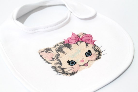 Machine Embroidery Vintage Kitty with Bow Machine Embroidery File design 4 x 4 inch in the hoop ITH